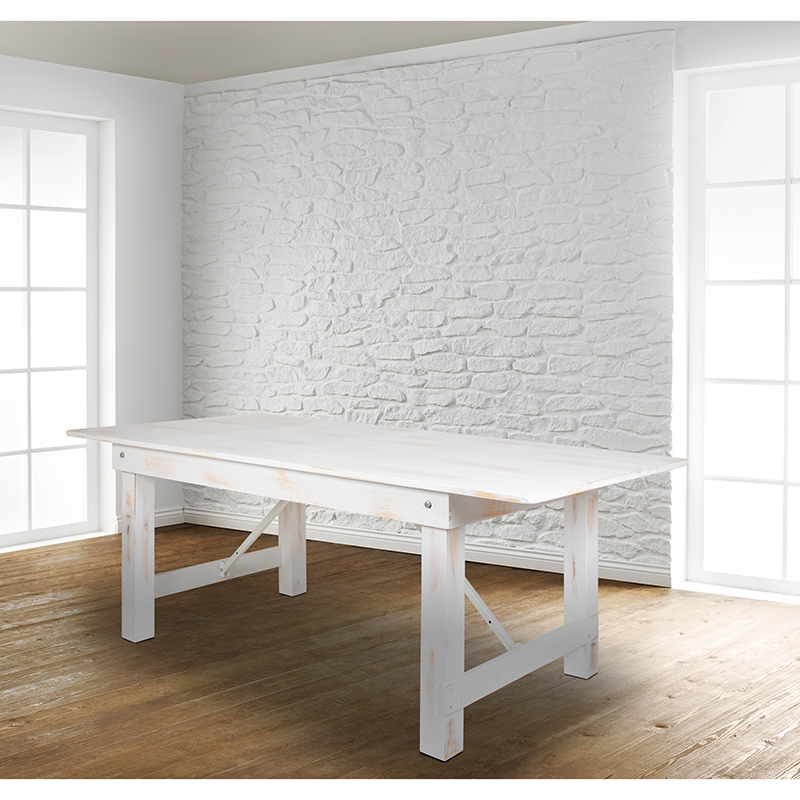 #53 - 8' x 40'' Rectangular Antique Rustic White Folding Dining Table with Solid Pine Top
