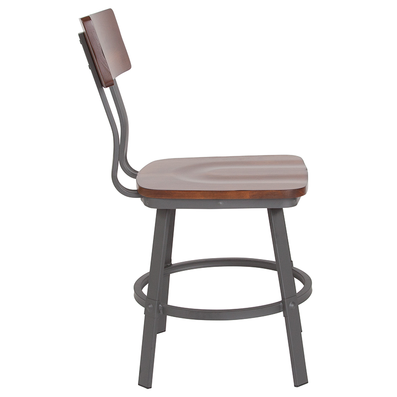 #117 - Industrial Style Rustic Walnut Restaurant Chair with Wood Seat and Back