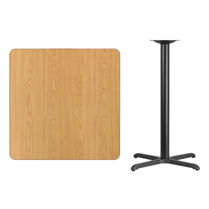 #93 - 36'' SQUARE NATURAL LAMINATE TABLE TOP WITH 30'' X 30'' BAR HEIGHT BASE