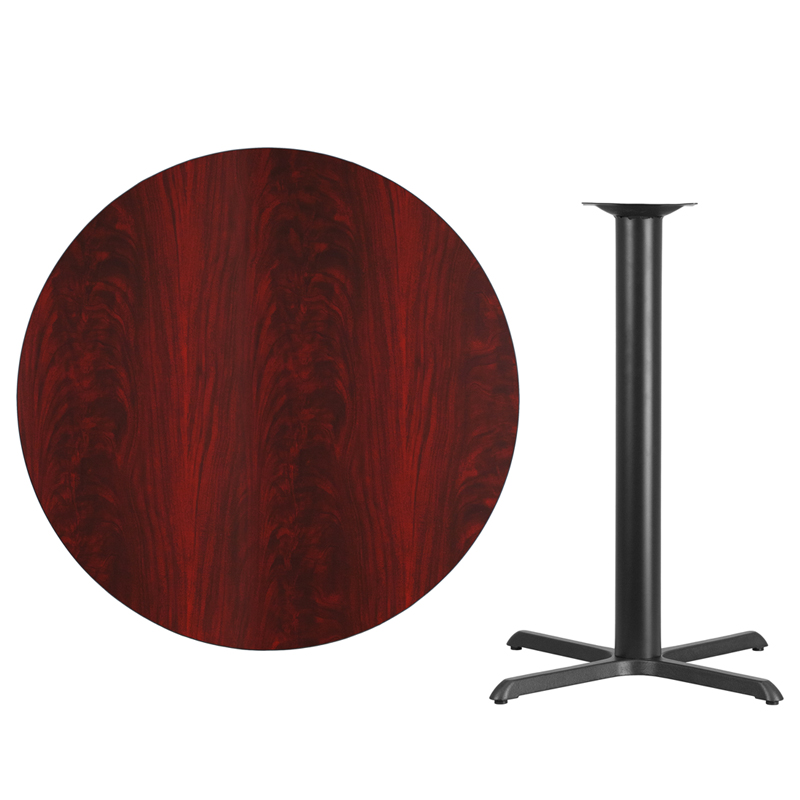 #00 - 42'' Round Mahogany Laminate Table Top with 33'' x 33'' Bar Height Base