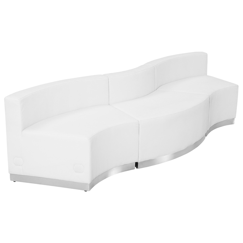 #109 - LOUNGE SERIES WHITE LEATHER RECEPTION CONFIGURATION, 3 PIECES