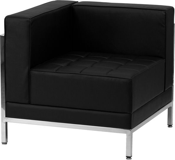 #130 - Imagination Series Black Leather Left Corner Chair