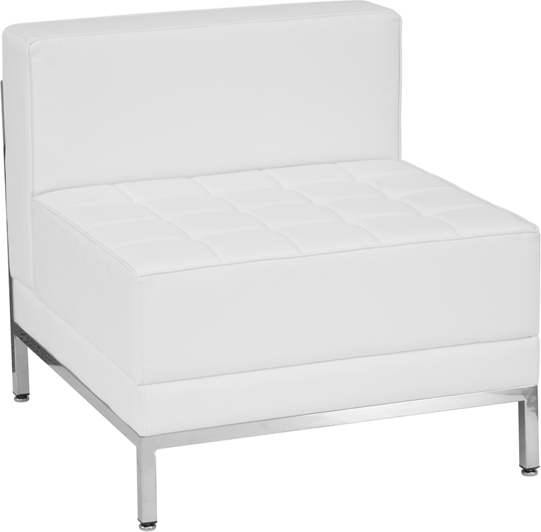 #204 - Imagination Series Contemporary White Leather Middle Chair