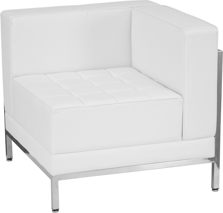 #203 - Imagination Series White Leather Right Corner Chair