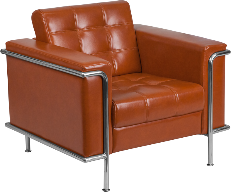 #00 - LESLEY SERIES CONTEMPORARY COGNAC LEATHER CHAIR WITH ENCASING FRAME