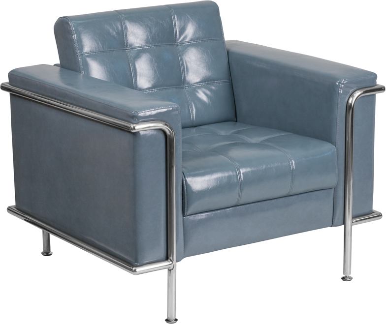 #00 - LESLEY SERIES CONTEMPORARY GRAY LEATHER CHAIR WITH ENCASING FRAME