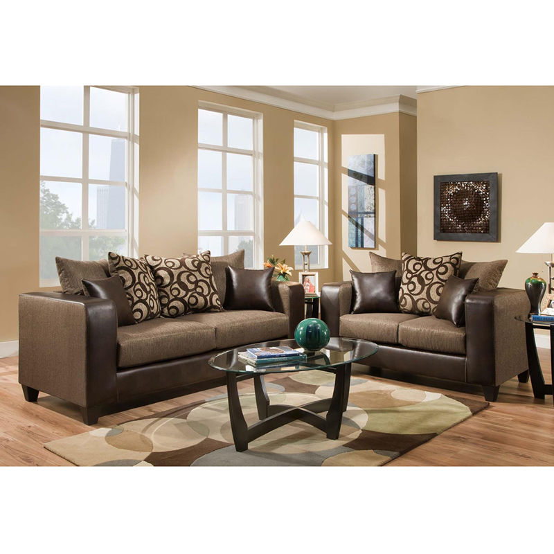 #2 - Contemporary Espresso Fabric Exterior Living Room Set & Chenille Seating(2 PCS)