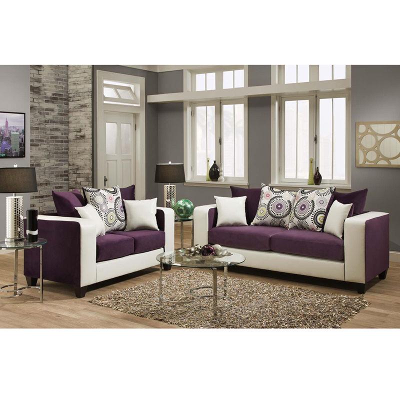 #4 - Contemporary Purple Velvet & Avanti White Living Room Set w/Velvet Cushion(2PCS)
