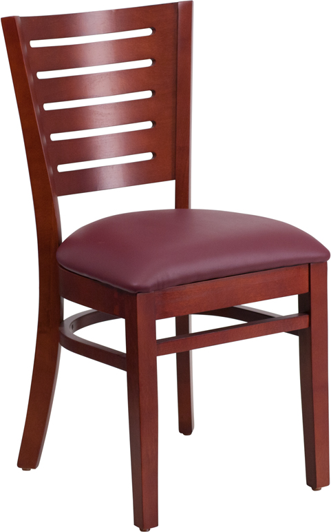 #2 - SLAT BACK MAHOGANY WOODEN RESTAURANT CHAIR - BURGUNDY VINYL SEAT