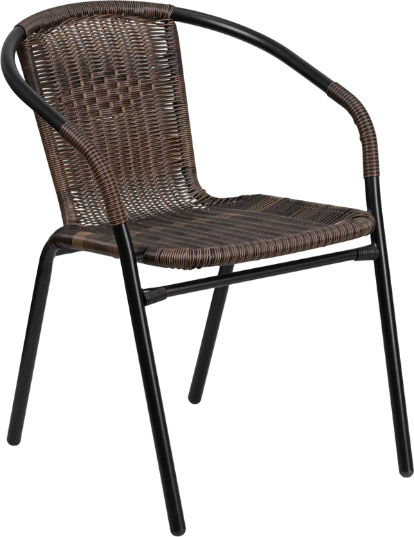 #74 - 2 PACK Indoor or Outdoor Restaurant Chair with Black Frame Finish and Dark Brown Rattan
