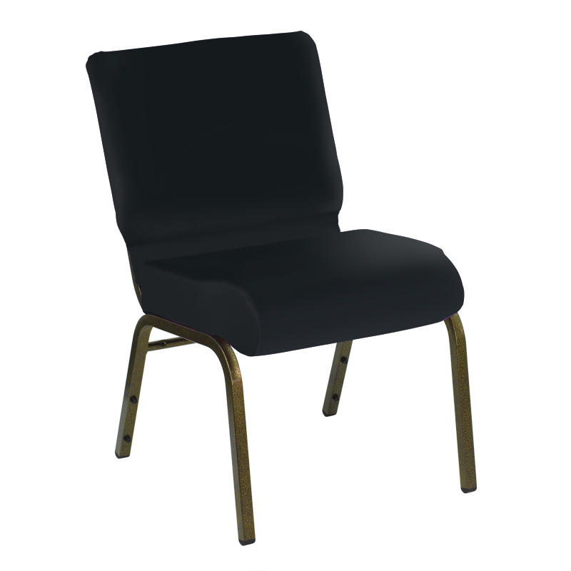 #20 - 21'' Extra Wide Custom Madrid Blue Vinyl Church Chair with Gold Vein Frame