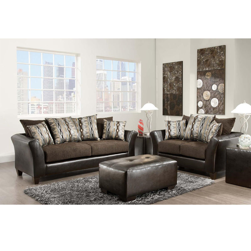 #5 - Contemporary Chocolate Fabric Living Room Set w/Sable Chenille Upholstery(2 PCS)