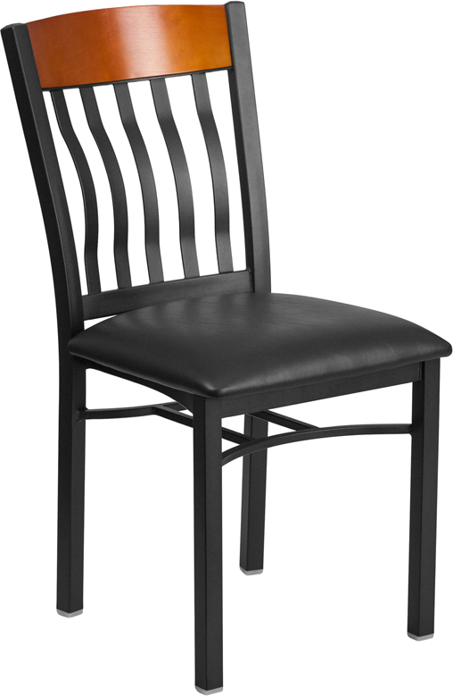 #96 - VERTICAL BACK BLACK METAL AND CHERRY WOOD RESTAURANT CHAIR WITH BLACK VINYL SEAT
