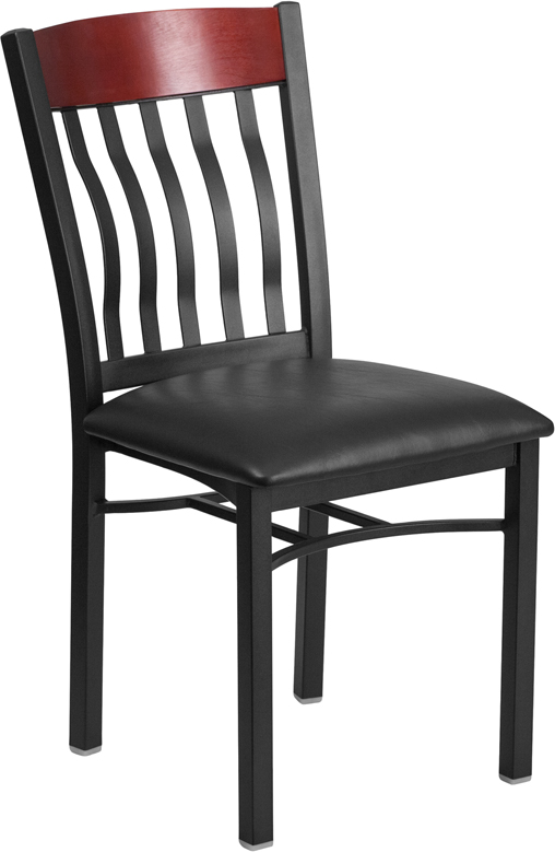 #97 - VERTICAL BACK BLACK METAL AND MAHOGANY WOOD RESTAURANT CHAIR WITH BLACK VINYL SEAT