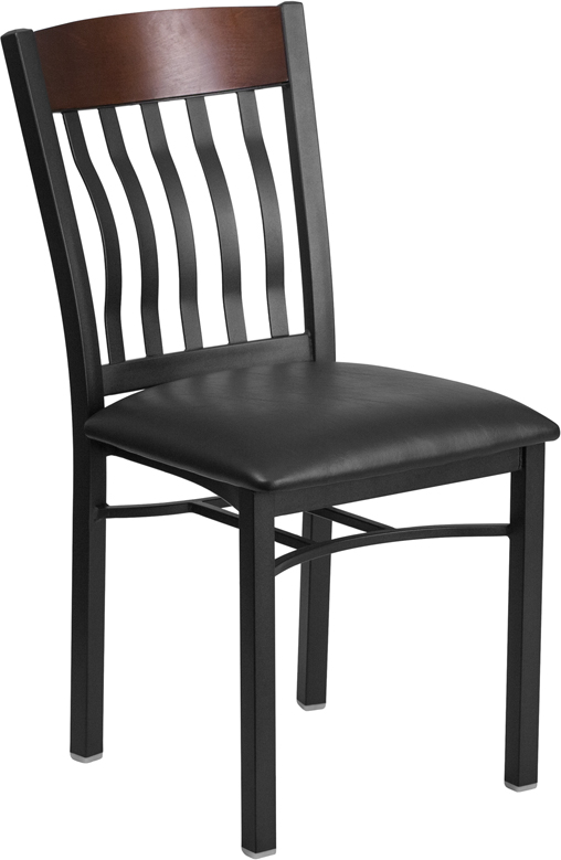 #98 - VERTICAL BACK BLACK METAL AND WALNUT WOOD RESTAURANT CHAIR WITH BLACK VINYL SEAT