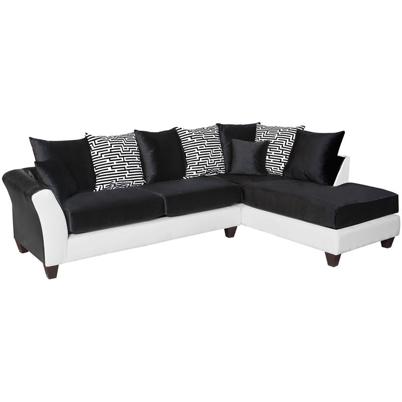 #6 - Contemporary Modern Sectional in Black & White Fabric w/Black Velvet Cushions