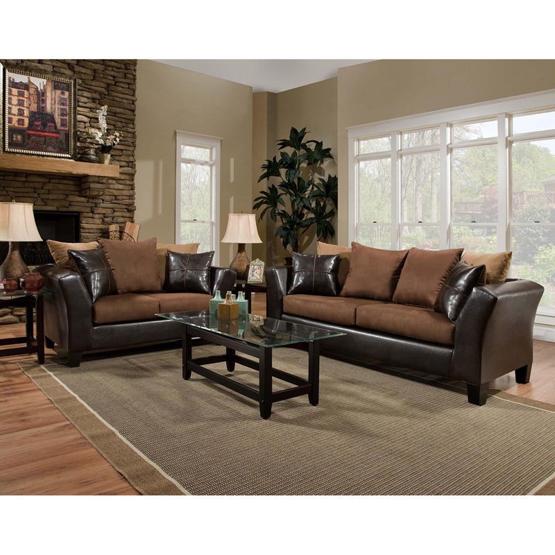 #8 - Contemporary Living Room Set in Chocolate Exterior & Microfiber Cushions (2 PCS)