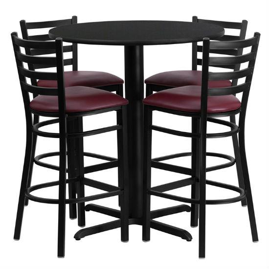 #49 - 30'' ROUND BLACK LAMINATE TABLE SET WITH 4 LADDER BACK METAL BAR STOOLS - BURGUNDY VINYL SEAT