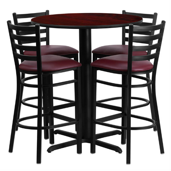#51 - 30'' ROUND MAHOGANY LAMINATE TABLE SET WITH 4 LADDER BACK METAL BAR STOOLS - BURGUNDY VINYL SEAT