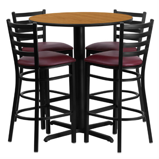 #53 - 30'' ROUND NATURAL LAMINATE TABLE SET WITH 4 LADDER BACK METAL BAR STOOLS - BURGUNDY VINYL SEAT