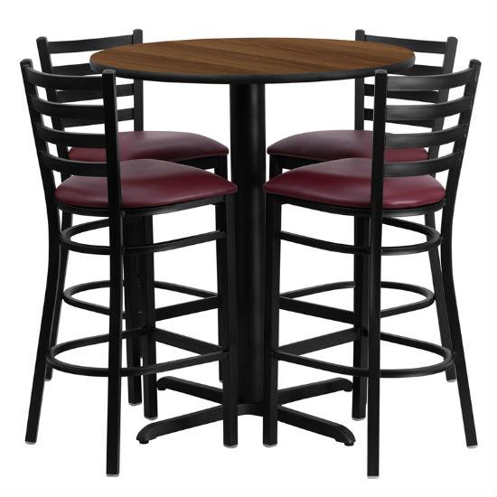 #55 - 30'' ROUND WALNUT LAMINATE TABLE SET WITH 4 LADDER BACK METAL BAR STOOLS - BURGUNDY VINYL SEAT