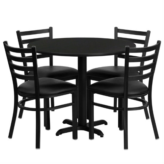 #57 - 36'' ROUND BLACK LAMINATE TABLE SET WITH 4 LADDER BACK METAL CHAIRS - BLACK VINYL SEAT