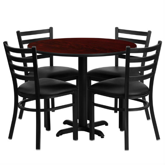#59 - 36'' ROUND MAHOGANY LAMINATE TABLE SET WITH 4 LADDER BACK METAL CHAIRS - BLACK VINYL SEAT
