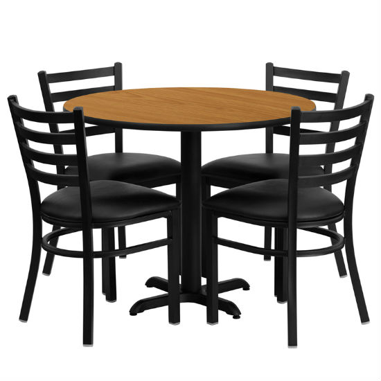 #61 - 36'' ROUND NATURAL LAMINATE TABLE SET WITH 4 LADDER BACK METAL CHAIRS - BLACK VINYL SEAT