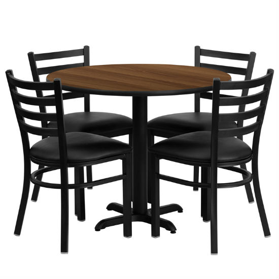#63 - 36'' ROUND WALNUT LAMINATE TABLE SET WITH 4 LADDER BACK METAL CHAIRS - BLACK VINYL SEAT