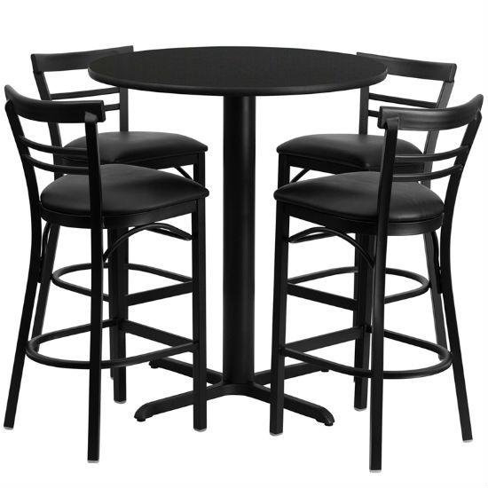 #65 - 24'' ROUND BLACK LAMINATE TABLE SET WITH 4 LADDER BACK METAL BAR STOOLS - BLACK VINYL SEAT