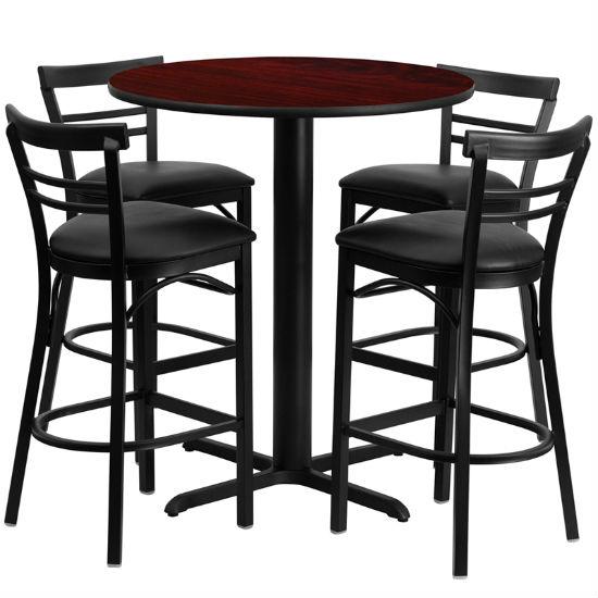 #67 - 24'' ROUND MAHOGANY LAMINATE TABLE SET WITH 4 LADDER BACK METAL BAR STOOLS - BLACK VINYL SEAT
