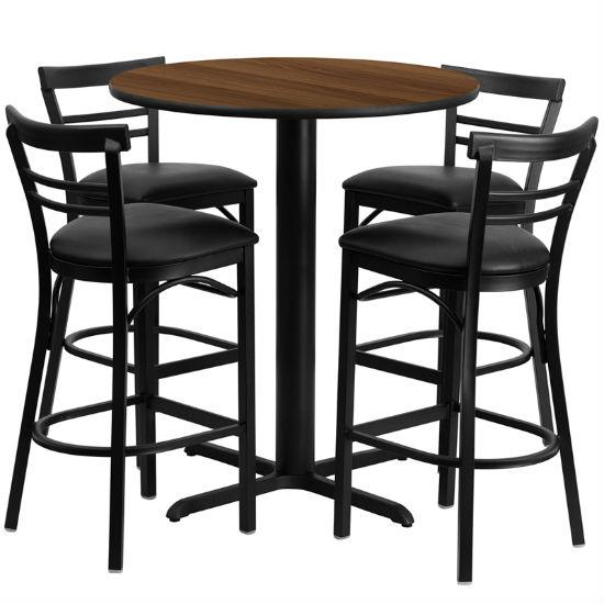 #71 - 24'' ROUND WALNUT LAMINATE TABLE SET WITH 4 LADDER BACK METAL BAR STOOLS - BLACK VINYL SEAT