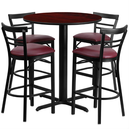 #75 - 24'' ROUND MAHOGANY LAMINATE TABLE SET WITH 4 LADDER BACK METAL BAR STOOLS - BURGUNDY VINYL SEAT