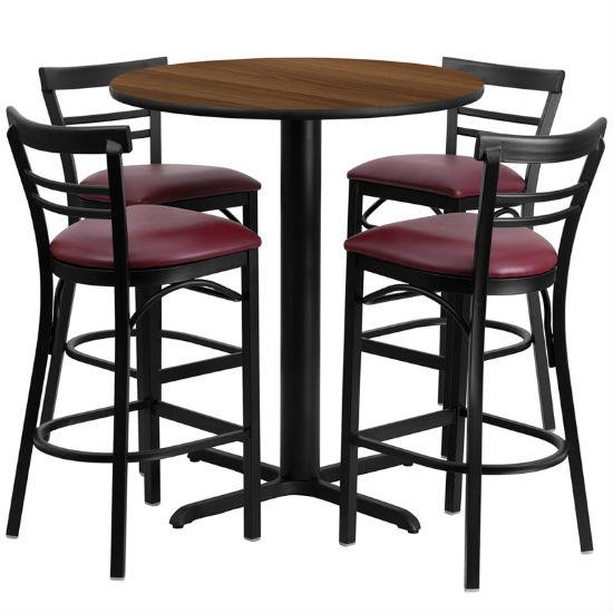 #79 - 24'' ROUND WALNUT LAMINATE TABLE SET WITH 4 LADDER BACK METAL BAR STOOLS - BURGUNDY VINYL SEAT
