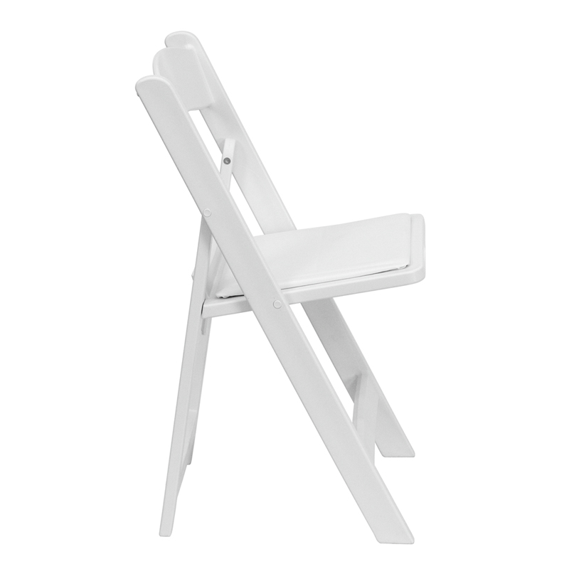 #3 - 1000 LB. CAPACITY WHITE RESIN FOLDING CHAIR WITH WHITE VINYL PADDED SEAT