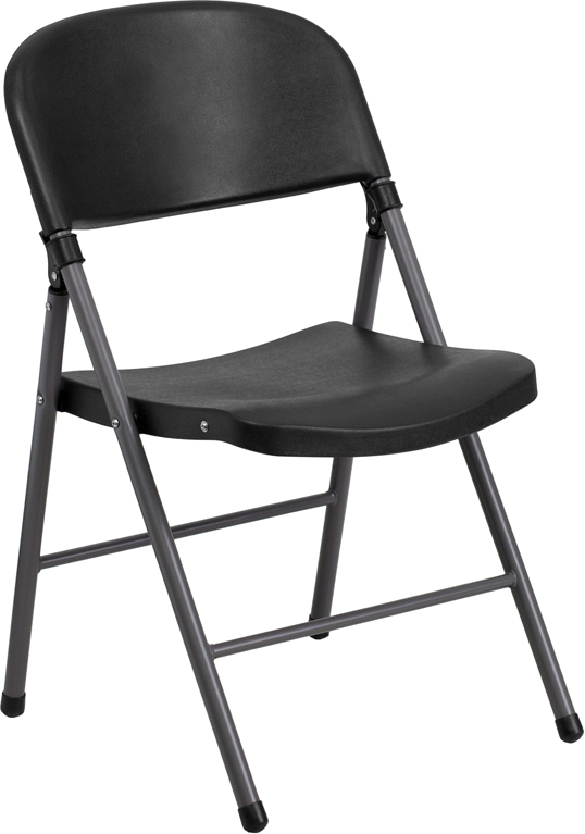 #24 - Black Plastic Folding Chair with Charcoal Frame