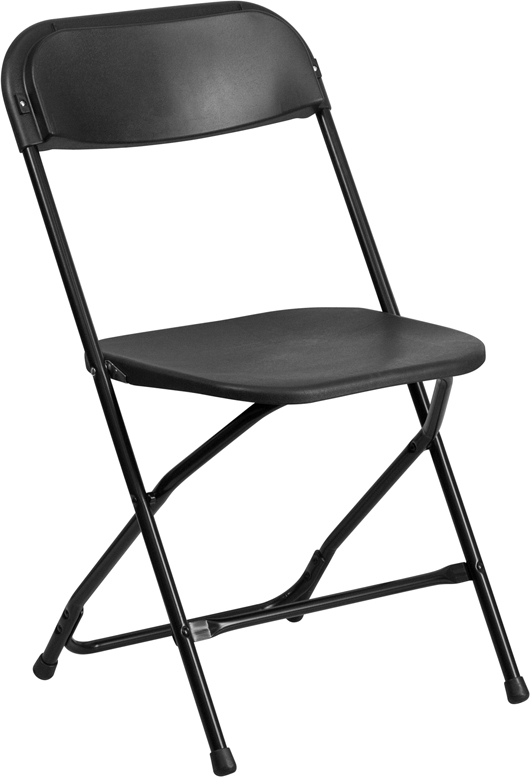 #10 - 300 LBS. PLASTIC FOLDING CHAIRS  BLACK COLOR