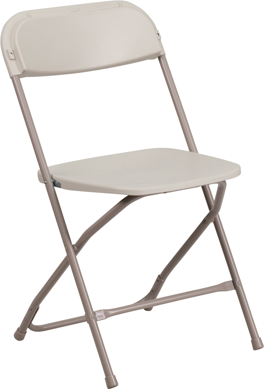 #2 - 650 LB. CAPACITY BEIGE PLASTIC FOLDING CHAIRS