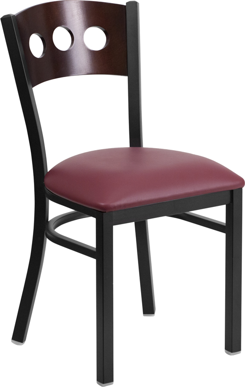 #8 - DECORATIVE 3 CIRCLE BACK METAL RESTAURANT CHAIR - WALNUT WOOD & BURGUNDY VINYL