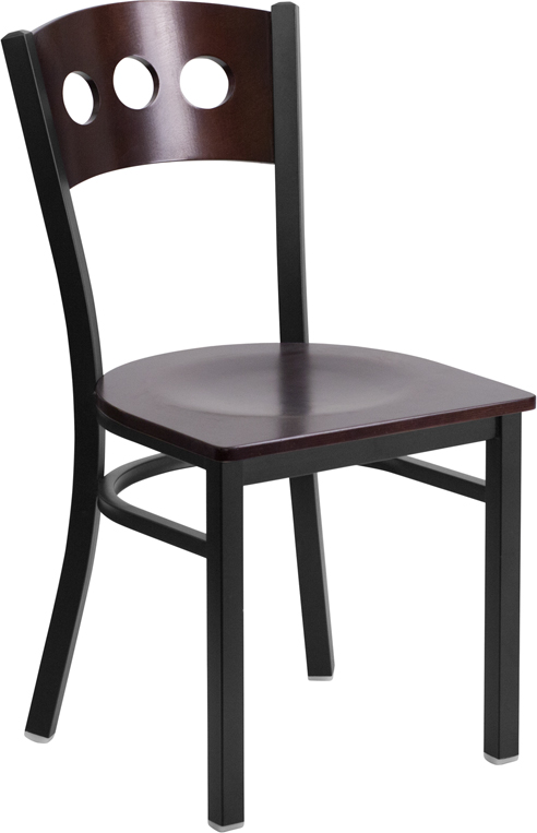 #9- DECORATIVE 3 CIRCLE BACK METAL RESTAURANT CHAIR - WALNUT WOOD BACK & SEAT