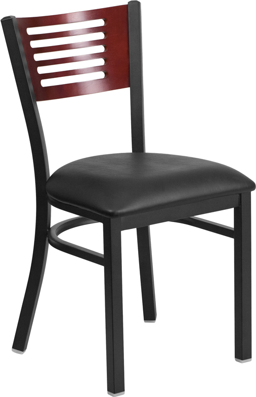 #4 - DECORATIVE SLAT BACK METAL RESTAURANT CHAIR - MAHOGANY WOOD &  BLACK VINYL