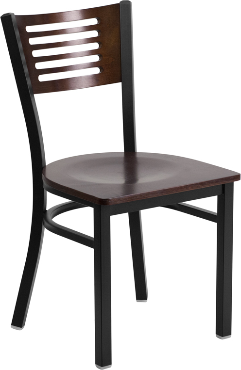 #3 - DECORATIVE SLAT BACK METAL RESTAURANT CHAIR - WALNUT WOOD BACK & SEAT