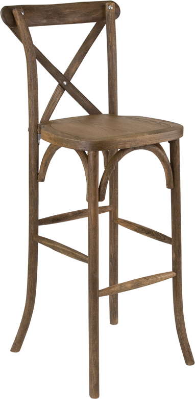 #40 - DARK ANTIQUE WOOD CROSS BACK BARSTOOL WITH CUSHION