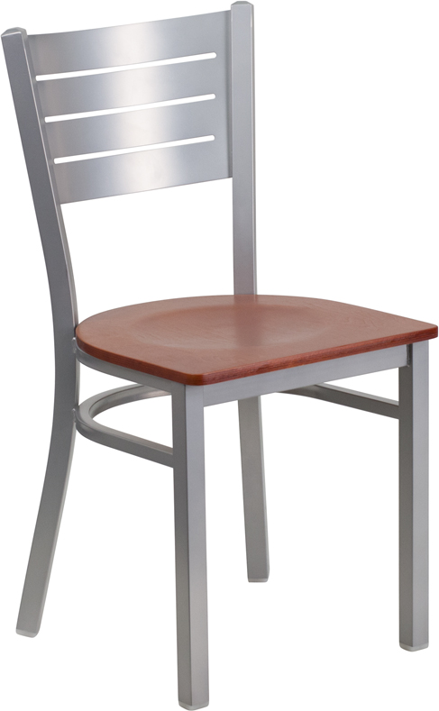 #19 - SERIES SILVER SLAT BACK METAL RESTAURANT CHAIR - CHERRY WOOD SEAT