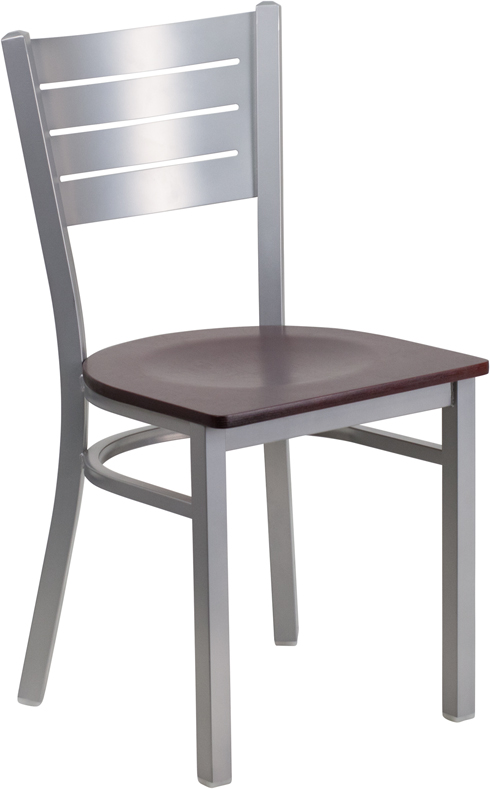 #20 - SILVER SLAT BACK METAL RESTAURANT CHAIR - MAHOGANY WOOD SEAT
