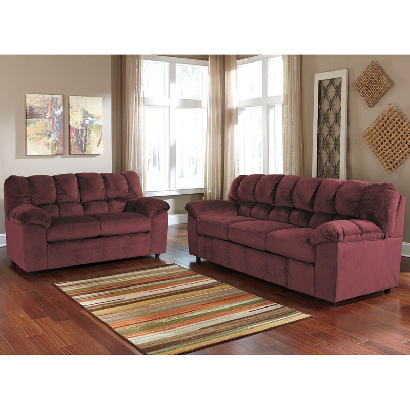 #10 - Signature Design by Ashley Julson Living Room Set in Burgundy Fabric