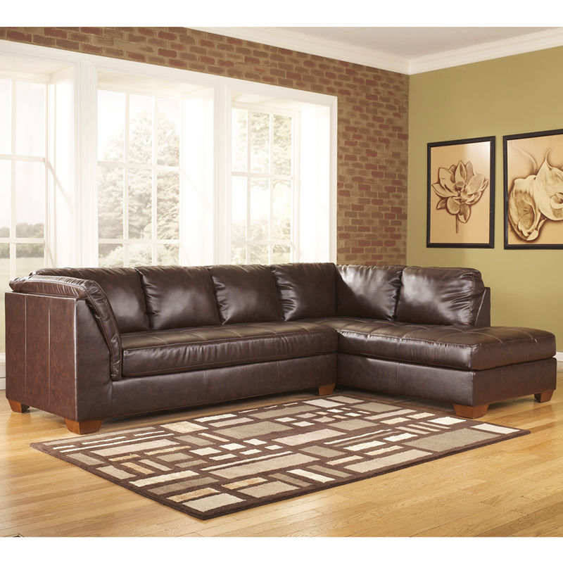 #11 - Ashley Fairplay Sectional with Right Side Facing Chaise - Mahogany Soft Leather