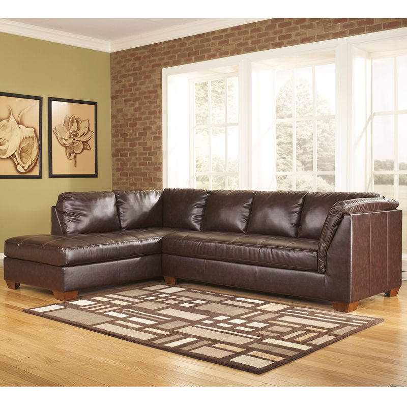 #12 - Ashley Fairplay Sectional with Left Side Facing Chaise - Mahogany Soft Leather