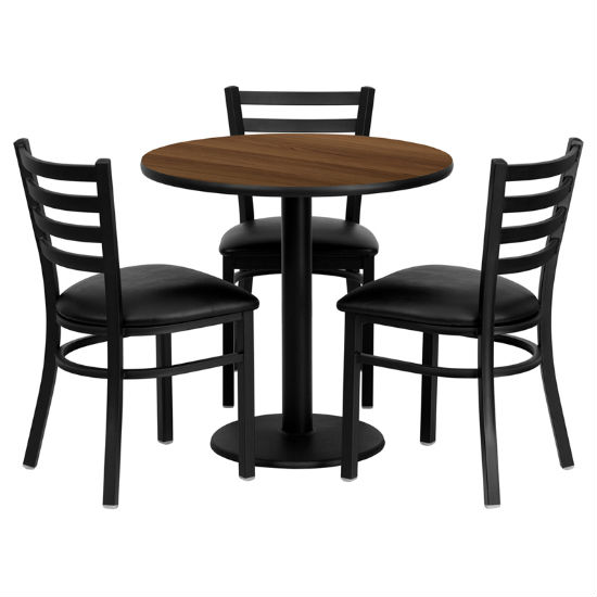 #81 - 30'' ROUND WALNUT LAMINATE TABLE SET WITH 3 LADDER BACK METAL CHAIRS - BLACK VINYL SEAT