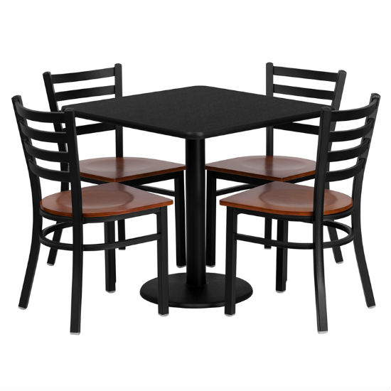 #82 - 30'' SQUARE BLACK LAMINATE TABLE SET WITH 4 LADDER BACK METAL CHAIRS - CHERRY WOOD SEAT